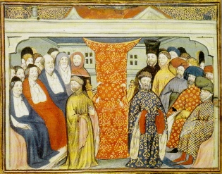 King Richard II deposed, from Jean Creton's La Prinse et Mort du Roy Richart, c1401 (BL Harley MS 1319, f. 57r)