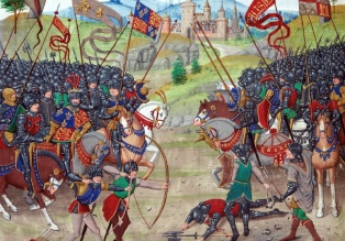 The battle of Nájera, Castile, from Froissart's Chronicles (BNF Fr 2643, f. 312v).