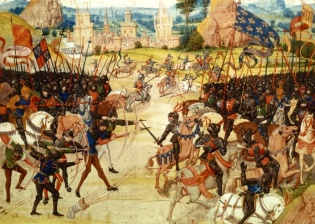 The battle of Poitiers 1356, from Froissart's Chronicles (BNF Fr 2643, f. 207)