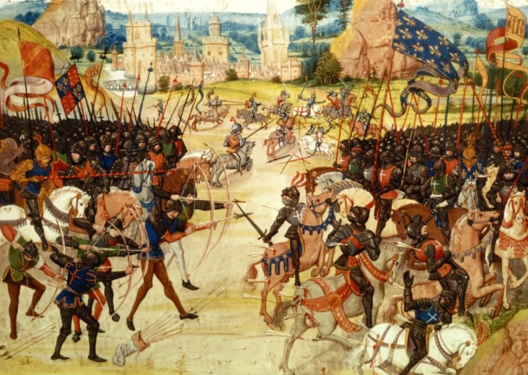 The battle of Poitiers, 1356, from Froissart's Chronicles (BNF Fr 2643, f. 207)