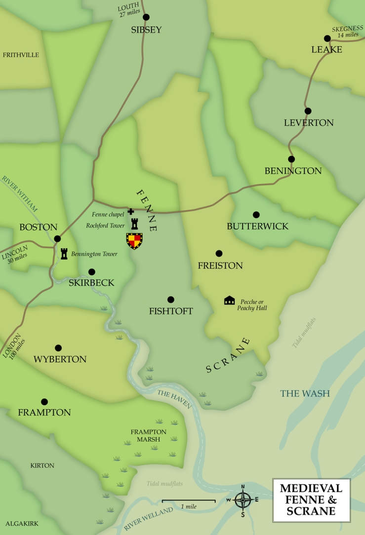 Map of the area around Fenne and Scrane in medieval times