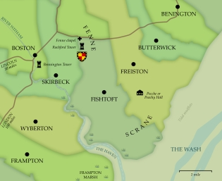 The area around the Rochfords' homelands at Fenne and Scrane
