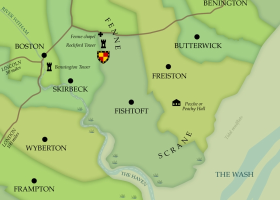 Map of the area around Fenne, Scrane, Skirbeck and Boston in medieval times