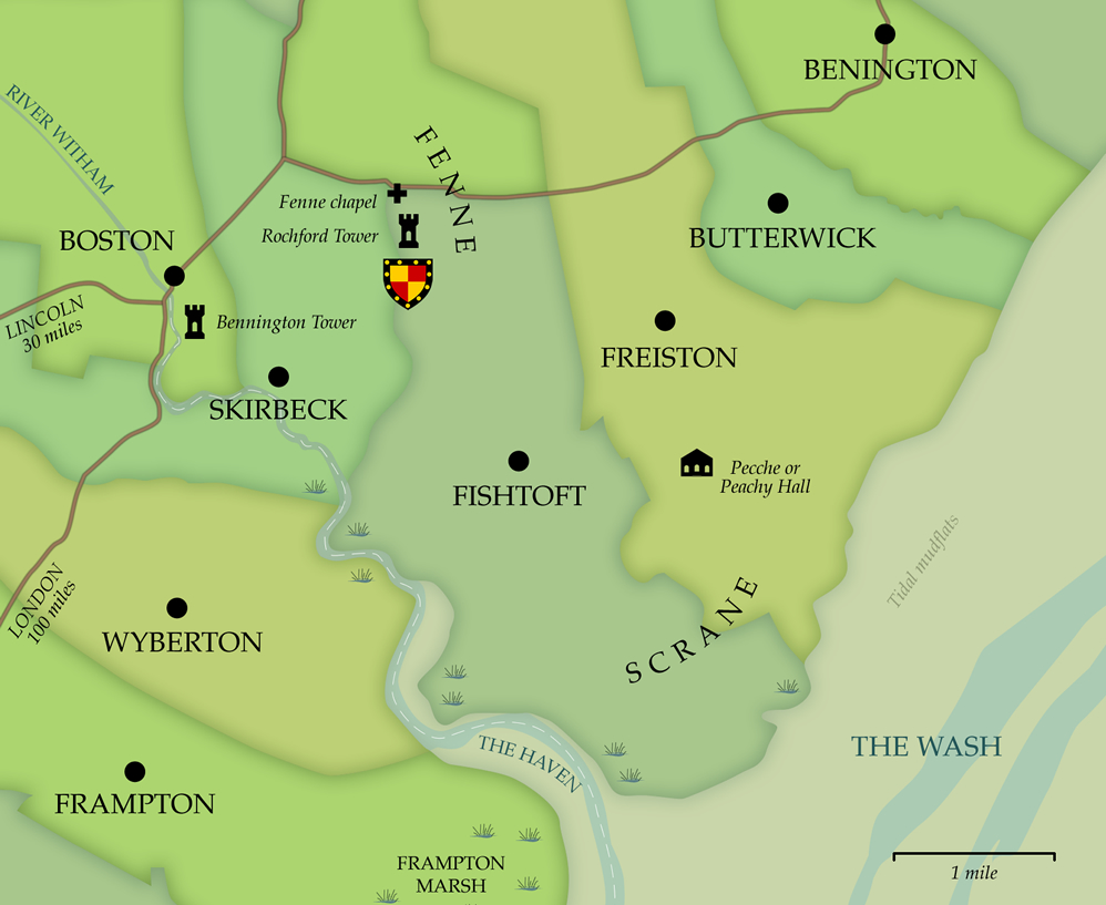 Map of the area around the Rochfords' homelands at Fenne and Scrane