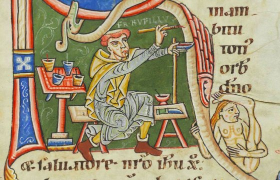 Brother Rufillus Illuminating the Initial R, from The Lives of the Saints, c.1170-1200
