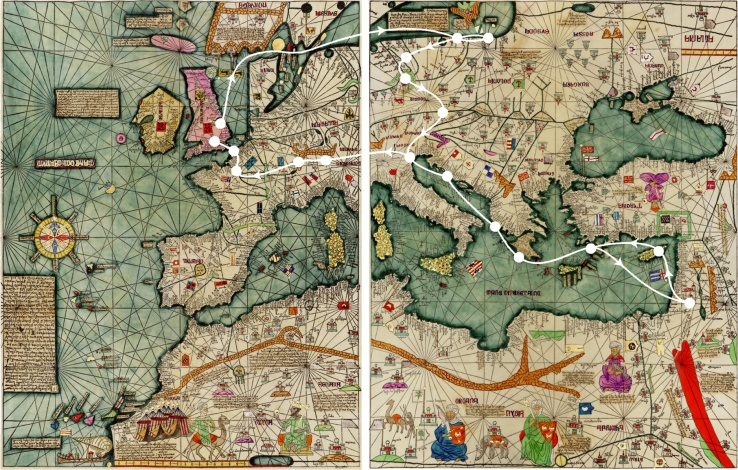 Part of the Catalan Atlas of about 1370, with Henry Bolingbroke's 1393-1394 journey superimposed
