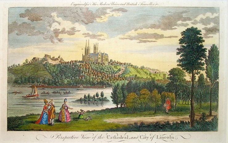 The city of Lincoln in a hand-coloured engraving of 1779