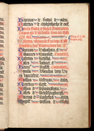 Page from the Register of the Guild of Corpus Christi, Boston (BL Harley MS 4795)