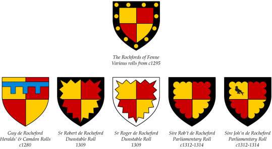 The arms of the Rochfords of Fenne (top) and of various members of the Essex Rochford family (bottom row).