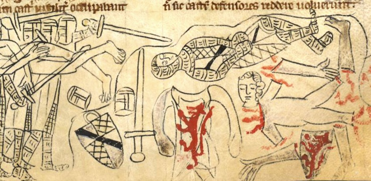 The battle of Evesham, 1256, from The Rochester Chronicle by Edmund of Haddenham