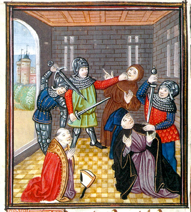 The execution of the archbishop of Canterbury during the Peasants' Revolt of 1381