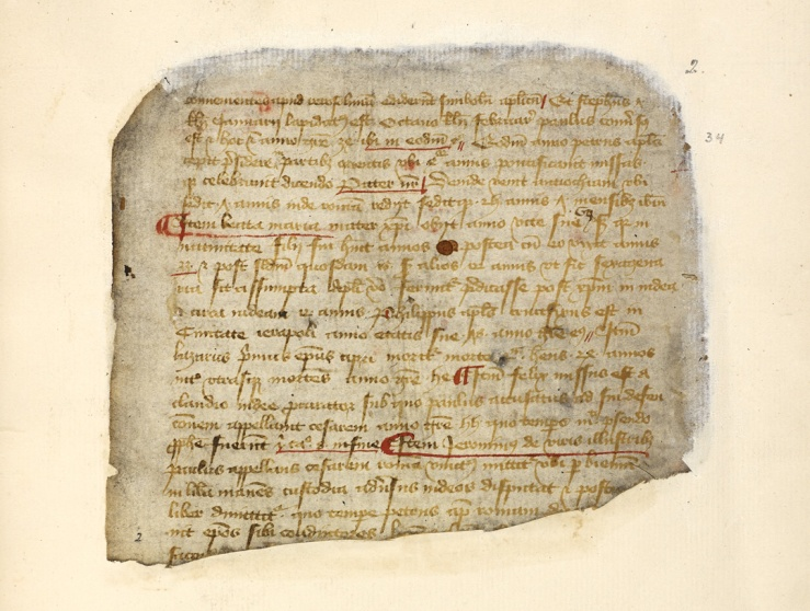 Fragment of John de Rochford's Extracts from the Chronicles of the Church of Chester (Copyright the British Library Board, Cotton MS Vitellius D XII, ff 1–28)