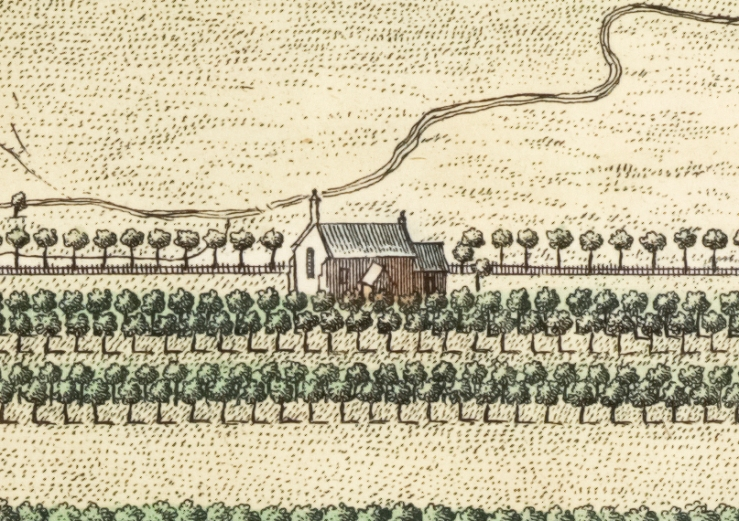 Detail of Kip's 1709 engraving of Haughton Park showing Haughton chapel