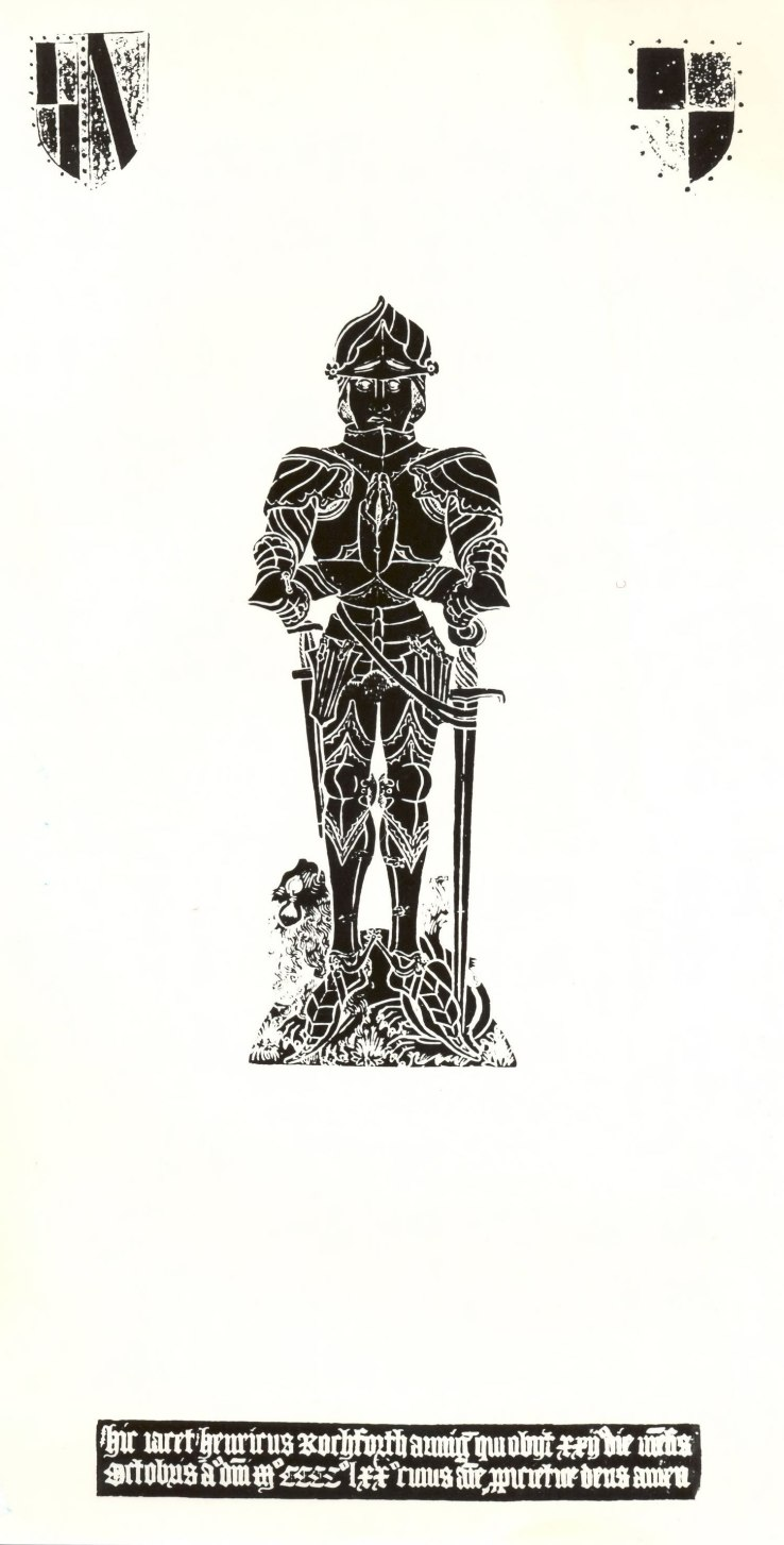 Brass rubbing from the tomb of Henry Rochford, died 1470, at Stoke Rochford