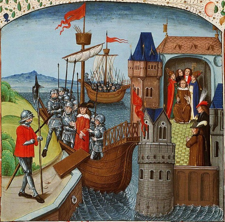 Henry VI sails for Calais, from Wavrin's Chronicles (Koninklijke Bibliotheek MS 133 A 7 III, f. 197r).