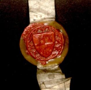 Sir John de Rochford II's seal with his coat of arms, 1391