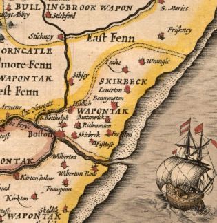 Detail of John Speed's 1611-12 map of Lincolnshire showing Skirbeck Wapentake.