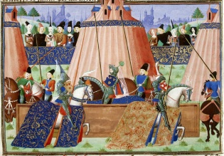 The famous joust at St-Inglevert in 1390, from Froissart's Chronicles (BL Harley MS 4379, f. 43r)