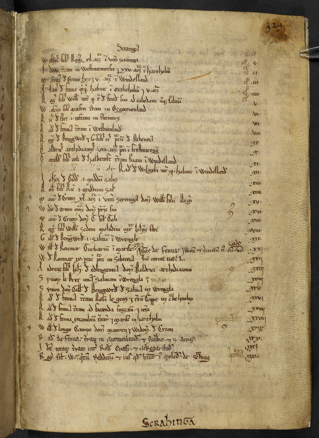 An index from the Kirkstead Cartulary relating to property in Scrane, 1200s (Copyright The British Library Board, Cotton MS Vespasian E XVIII).