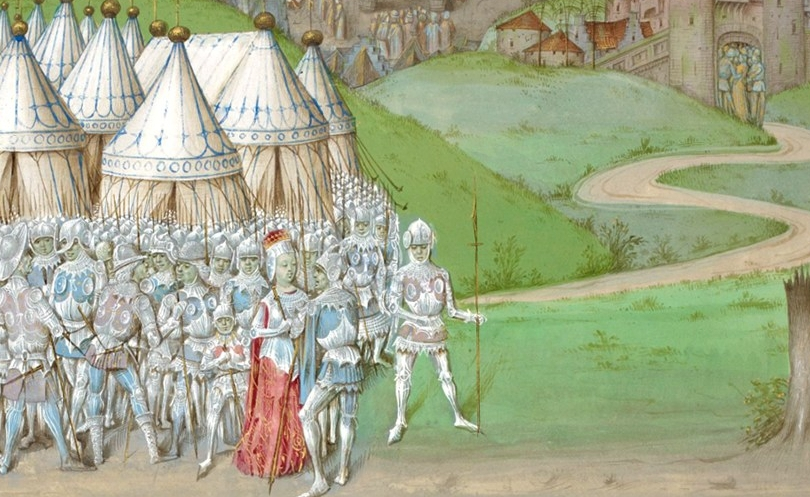 Isabella of France with Roger Mortimer at Hereford, 1326 (detail)