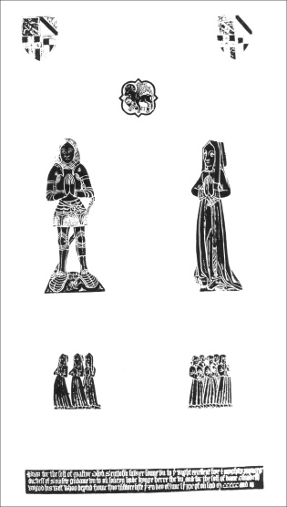 A brass rubbing of the effigies of Oliver St John and Elizabeth Scrope