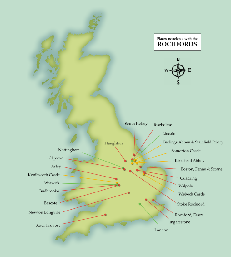 A map of places in England associated with the Rochfords of Fenne and Stoke Rochford