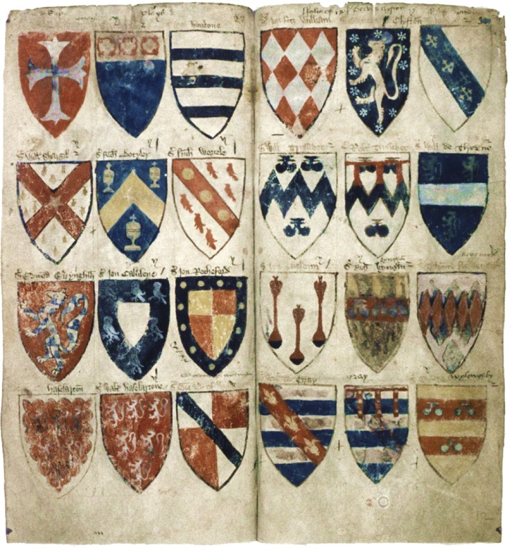 A page from Powell's Roll of arms, Bodleian Library, Oxford (Ashmole 804, pt. IV, p. 022-023)