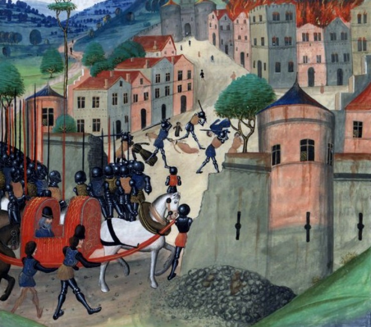 The sack of Limoges, 1370, from Wavrin's Chronicles (BNF Fr 77, f. 371)