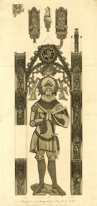 Etching of a brass effigy of Sir Hugh Hastings (British Museum, CC-BY-NC-SA-4.0)