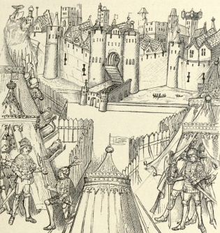 Henry V and the English camp at the siege of Rouen in 1418, from The Beauchamp Pageants c1480
