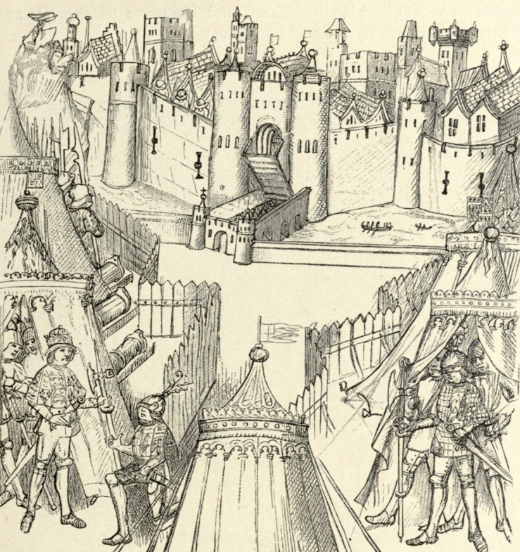 Henry V and the English camp at the siege of Rouen in 1418, from The Beauchamp Pageants, c1480