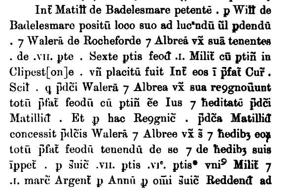Fine recording Waleran and Albreda's 1198 purchase of property at Clipston from Matilda de Badelesmare