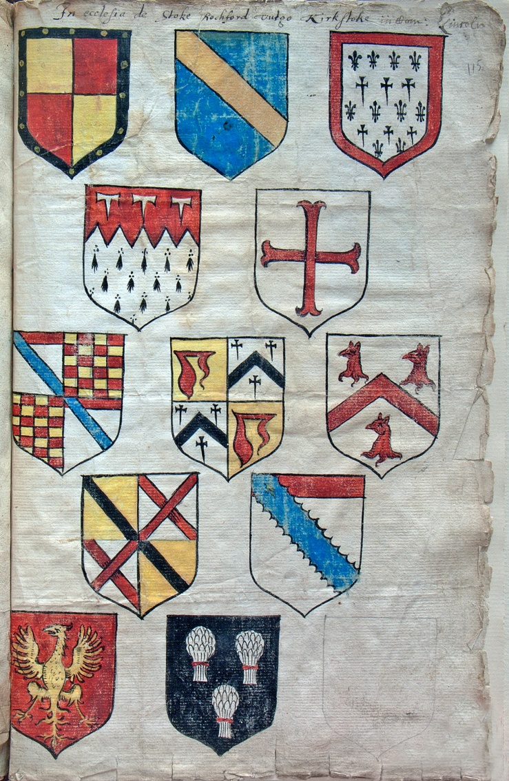 Sketches of coats of arms in Stoke Rochford by William Wyrley, late 1500s, copyright the Society of Antiquaries of London