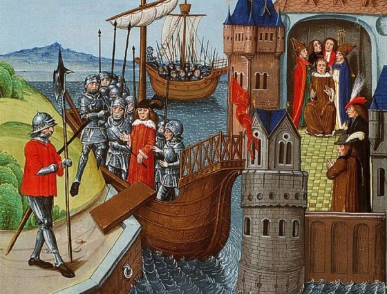 Henry VI and his retinue arrive in Calais, April 1430 (detail)