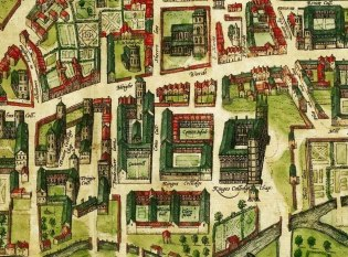 Detail of a 1575 map of Cambridge