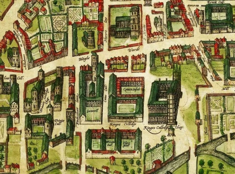 Detail of a 1575 map of Cambridge showing the Common Schools